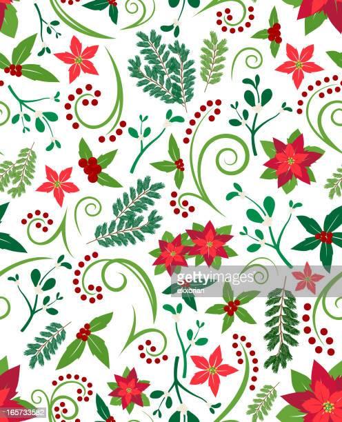 ilustraciones, imágenes clip art, dibujos animados e iconos de stock de patrón sin costuras de navidad - flor de pascua