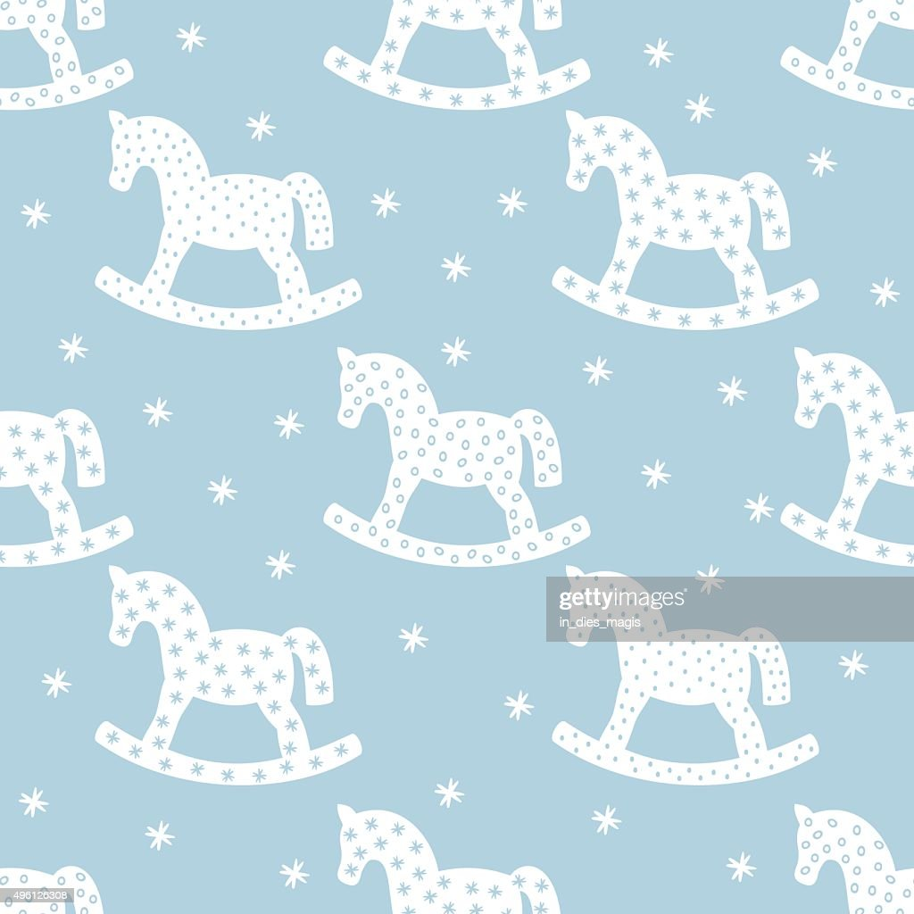 Seamless christmas pattern with rocking horses.