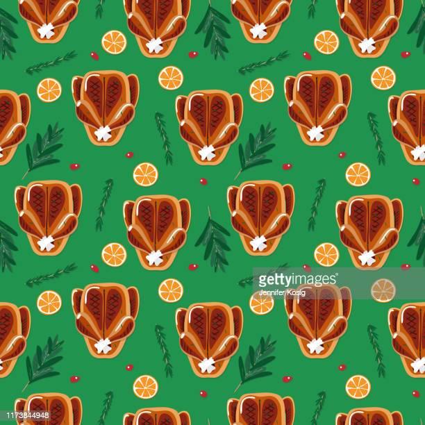 ilustraciones, imágenes clip art, dibujos animados e iconos de stock de patrón de ilustración de cena tostada de navidad sin costuras - pollo asado