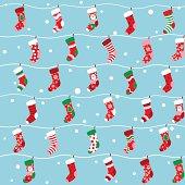 Seamless Christmas stocking background