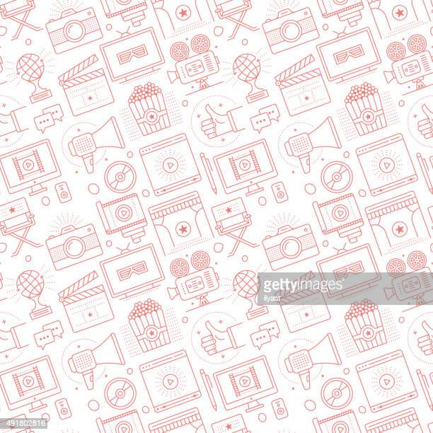 seamless cinema pattern - video camera stock illustrations, clip art, cartoons, & icons