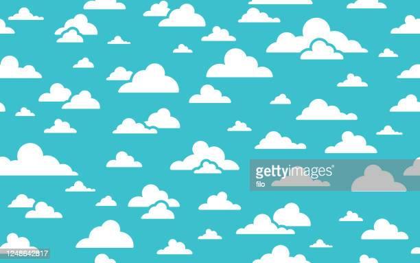 nahtlose clouds hintergrund - bedeckter himmel stock-grafiken, -clipart, -cartoons und -symbole