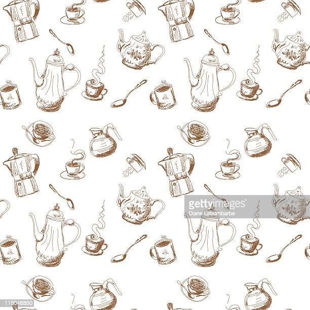 Seamless Coffee & Tea Pattern