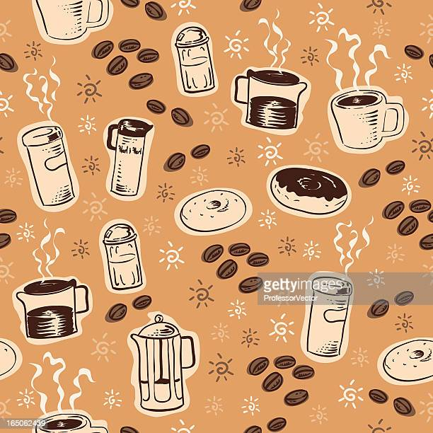 seamless coffee - donut stock illustrations, clip art, cartoons, & icons