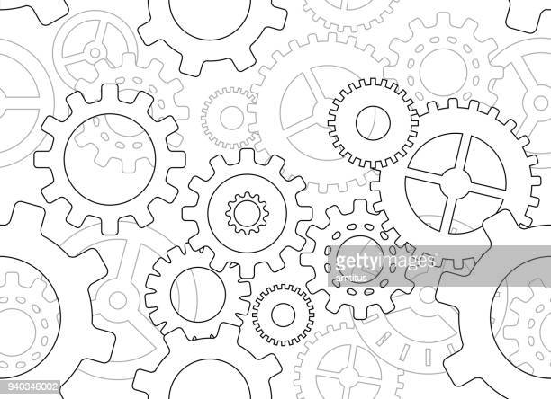 seamless cogs - cog stock illustrations