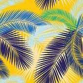 Seamless color palm leaves pattern