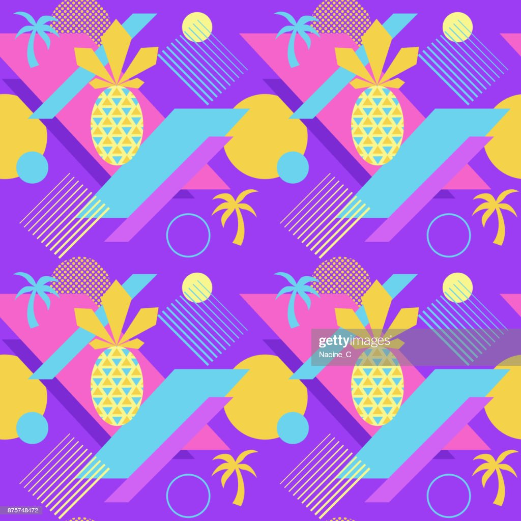 Seamless Color Summer Pattern With Pineapple And Palm Trendy Geometric Style Vector Background Bright