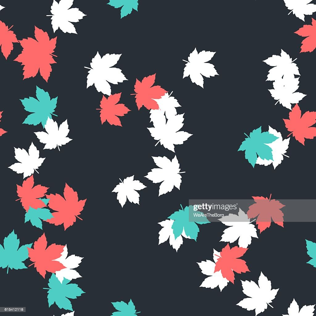 Seamless colorful background with autumn leafs