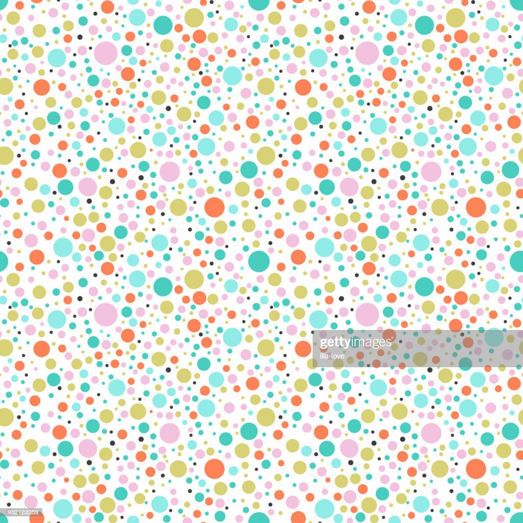 Seamless colorful dots backgound.  Pastel color ball vector pattern.