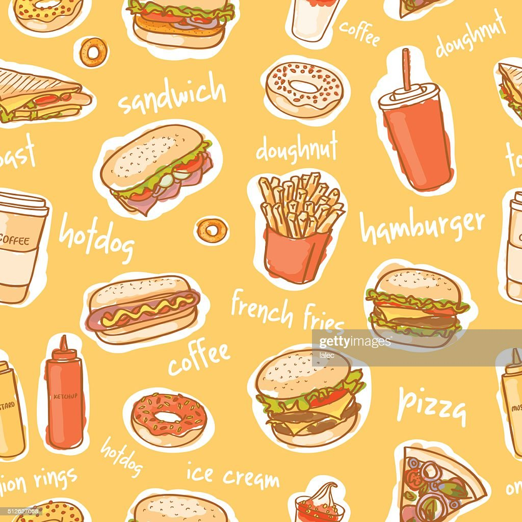 seamless colorful fast food pattern