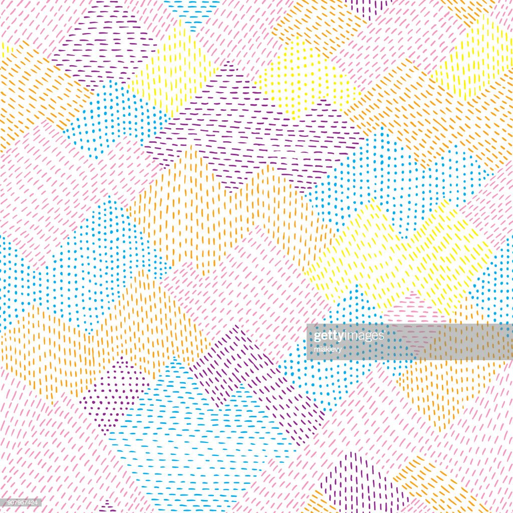 Seamless colorful line hand drawn pattern : stock illustration