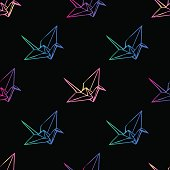 Seamless colorful neon paper bird origami pattern background