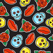 Seamless colorful pattern of fashion tattoo style patches.