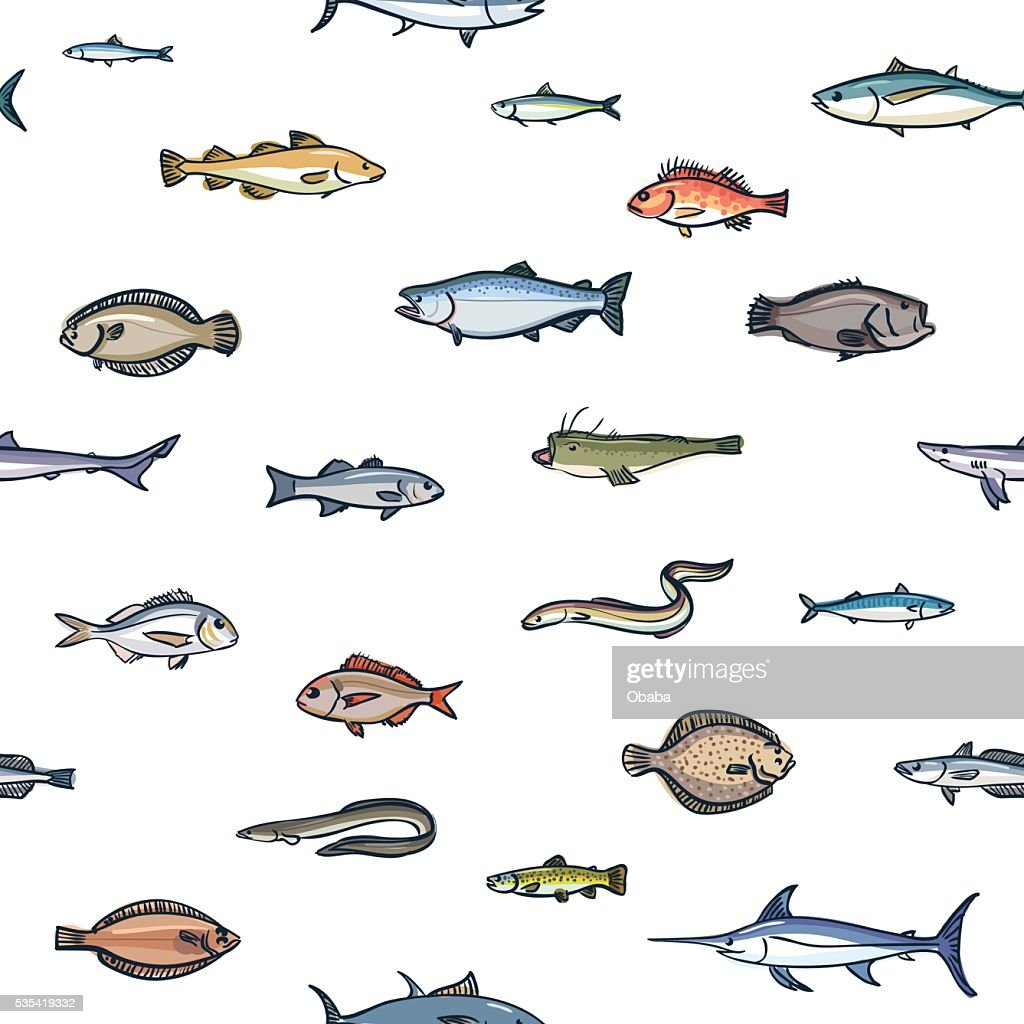 Seamless colorful pattern of marketable fish, hand drawn style
