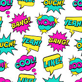Seamless colorful pattern with comic speech bubbles on white background. Expressions COOL, YEAH, BOOM, WOW, OUCH, BANG, LIKE.