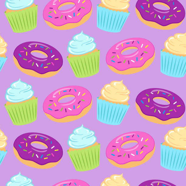 Seamless Colorful Pattern With Donuts And Cupcakes On White Background. Wall Art