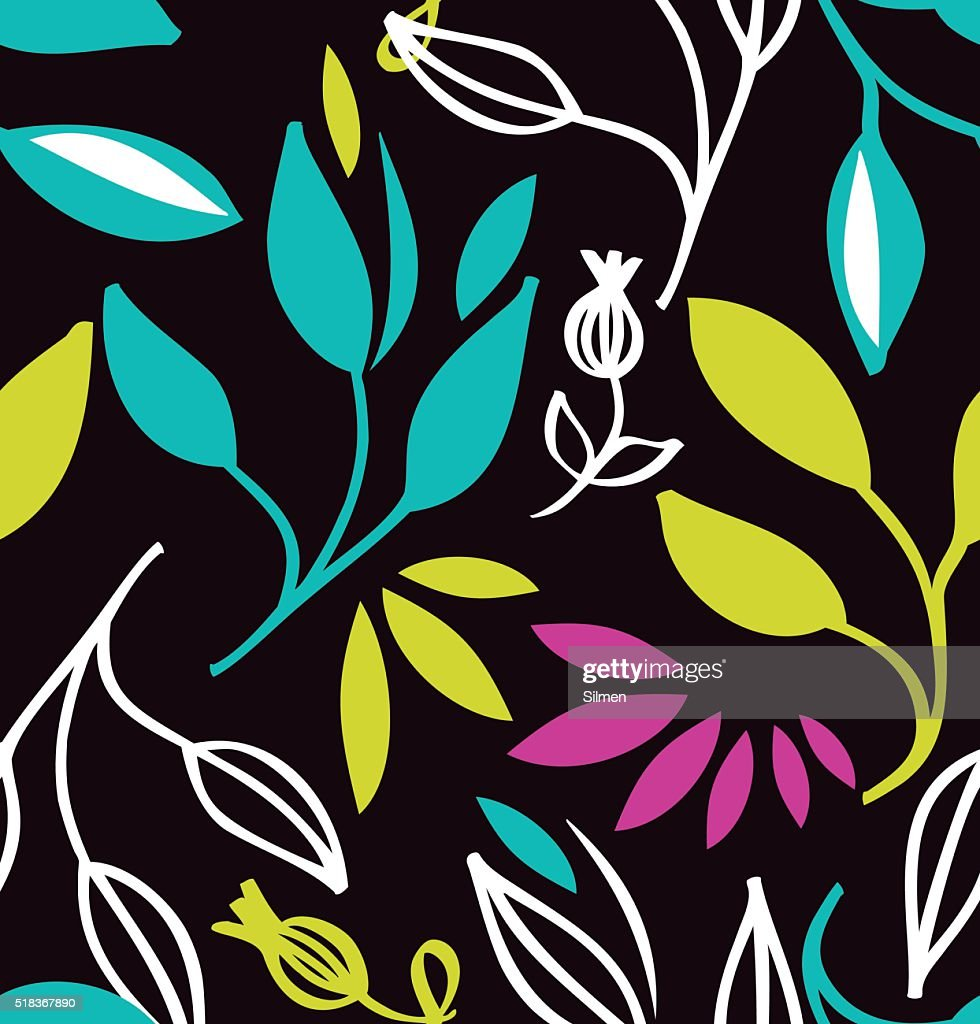 Seamless colorful pattern with flowers and leaves
