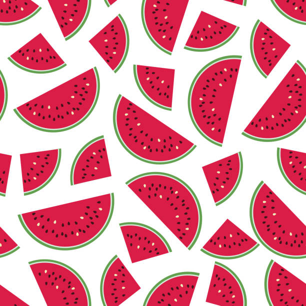 Seamless Colorful Pattern With Red Watermelon Slices On White Background. Wall Art