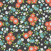Seamless colorful vector pattern with red, blue flowers and leaves