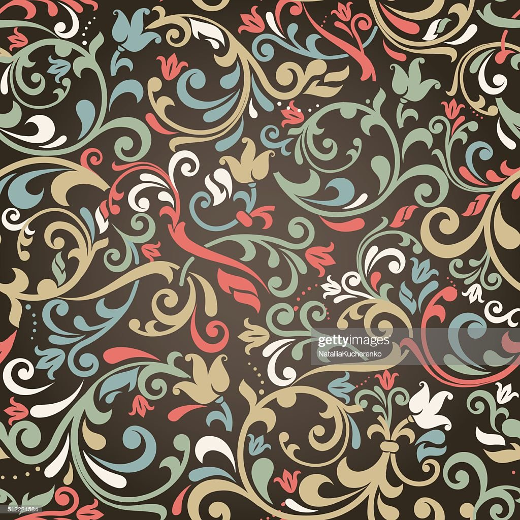 seamless colorful victorian pattern on dark background