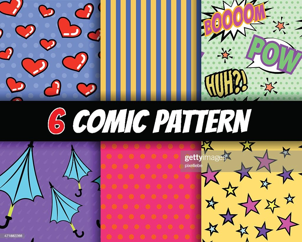 seamless comic pattern vector set