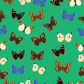 Seamless common butterfly pattern with azure background
