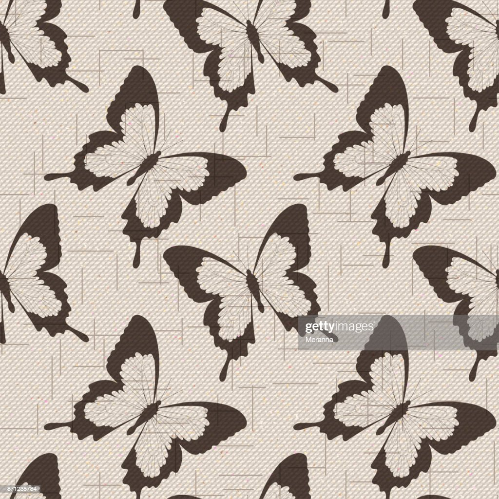 seamless cotton sailcloth texture with flying butterflies.