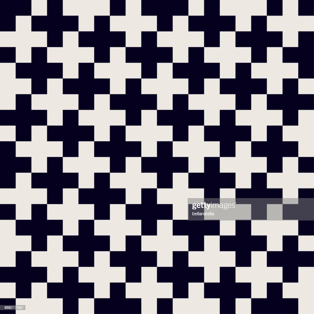 Seamless cross monochrome vector pattern. Traditional black and white ornament.