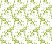 Seamless curly floral pattern.