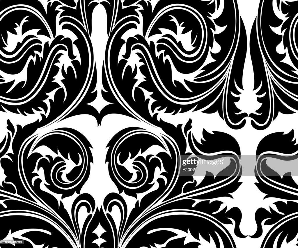 Nahtlose Curvy Blätter : Vektorgrafik