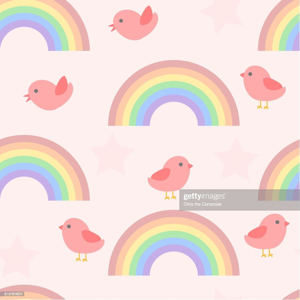 Seamless cute birds and rainbow pattern for a baby
