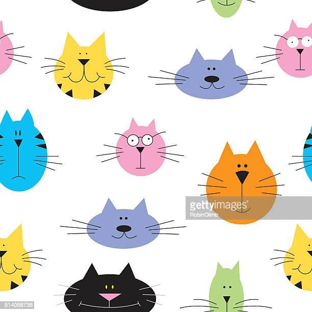 illustrations, cliparts, dessins animés et icônes de joli motif sans couture chats - chat humour