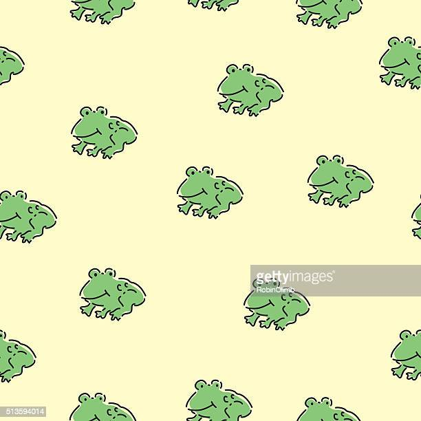 seamless cute frogs pattern - webbed foot stock illustrations, clip art, cartoons, & icons