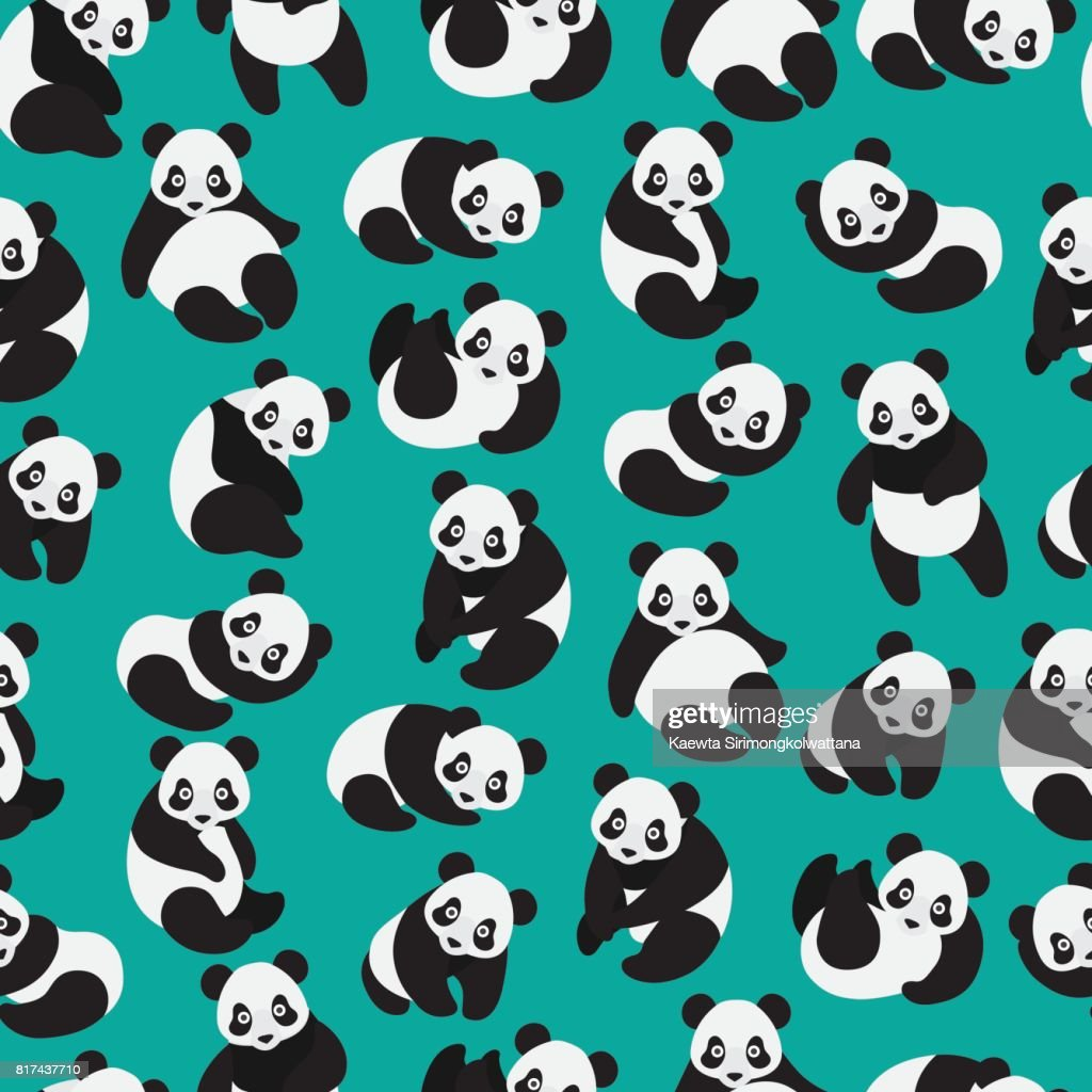 Seamless cute little panda pattern.