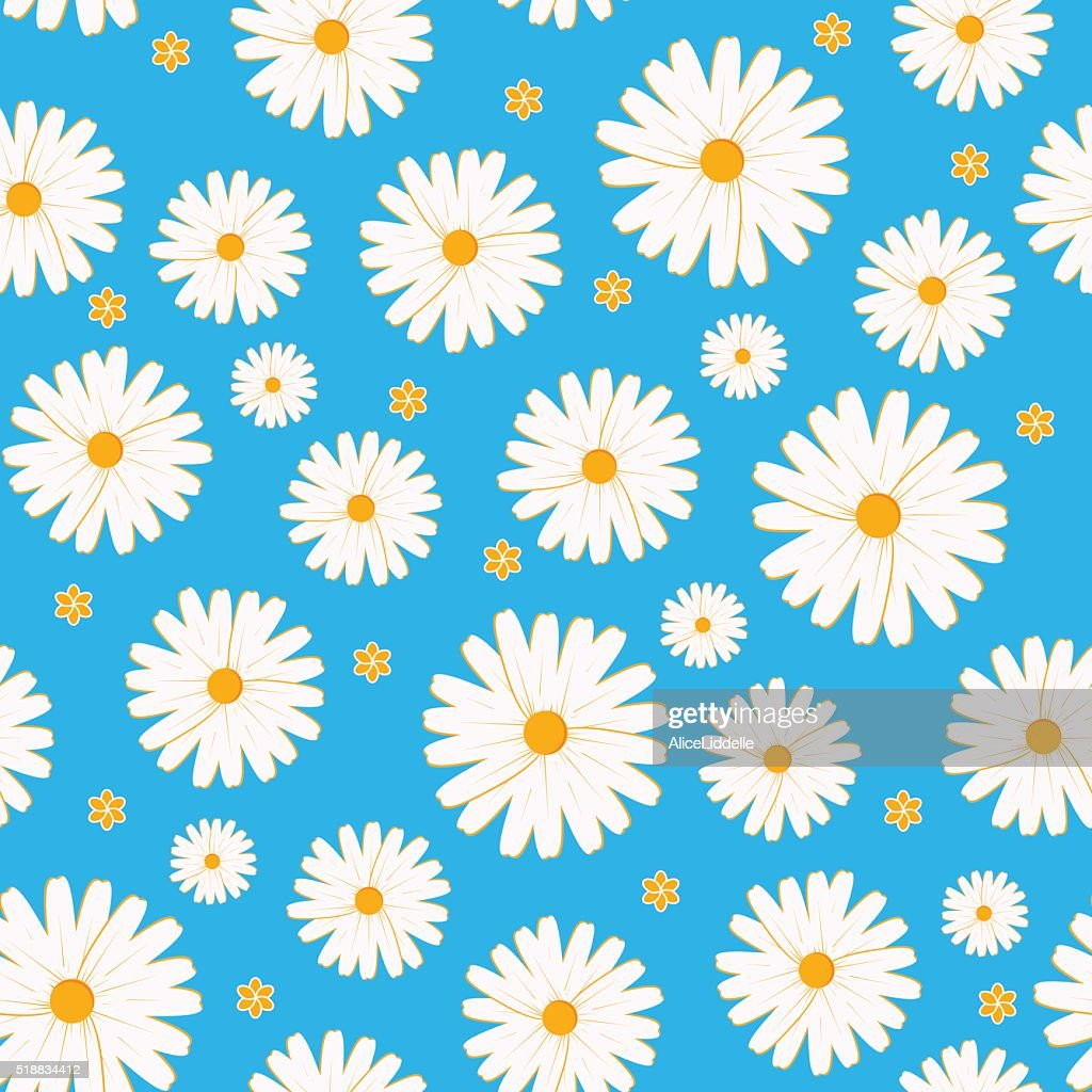 Seamless daisies vector pattern on orange background