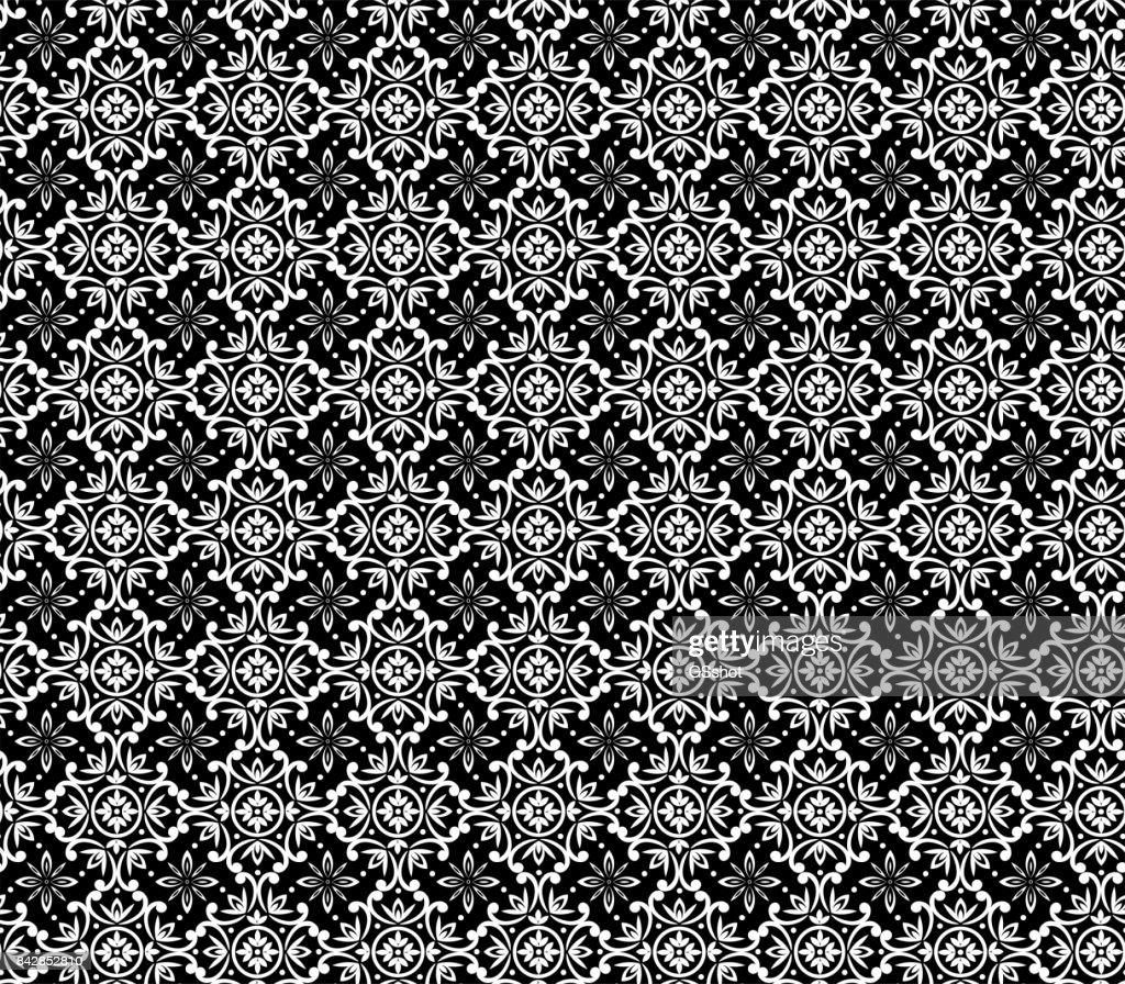 seamless damask pattern in black.