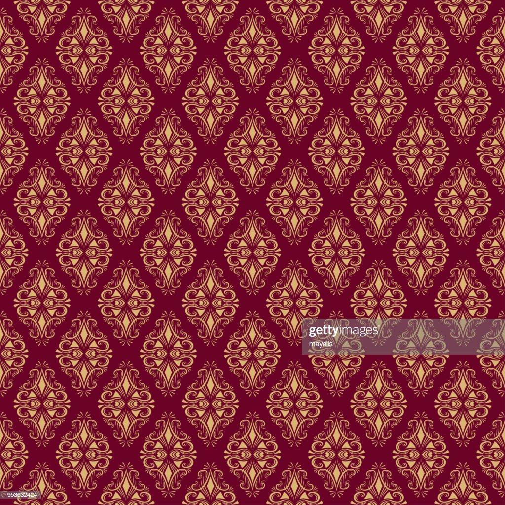 Seamless Damask Pattern on burgundy background