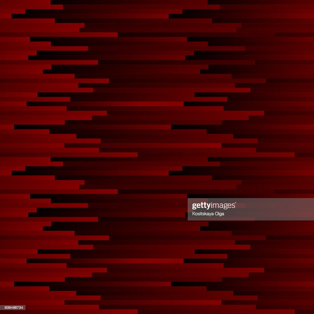 Seamless dark abstract pattern. Geometric print composed of black and red strips. Graphic line background.