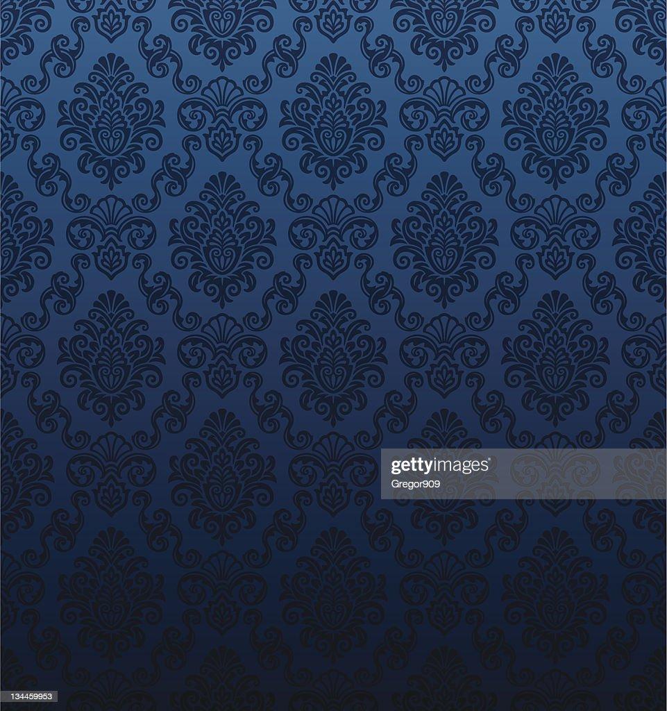 Seamless Dark Blue Damask Wallpaper Vector Art