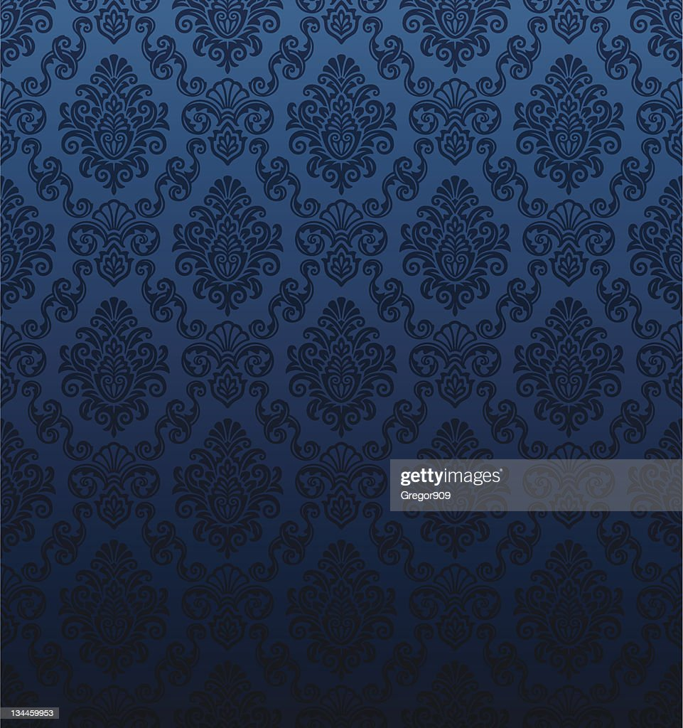 Seamless dark blue damask wallpaper