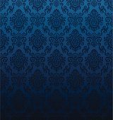Seamless dark blue damask wallpaper