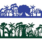 Seamless decorative ornament of tropical tree silhouettes. Trees seamless pattern.