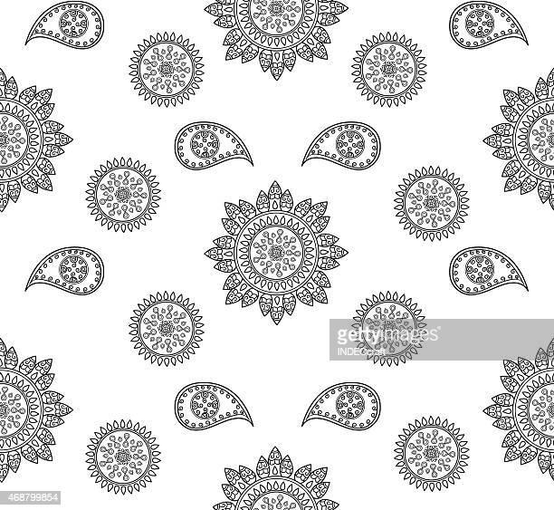 seamless design - paisley pattern stock illustrations, clip art, cartoons, & icons