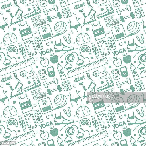 seamless diet & fitness pattern - dieting stock illustrations, clip art, cartoons, & icons