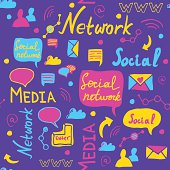 Seamless doddle pattern of social media sign