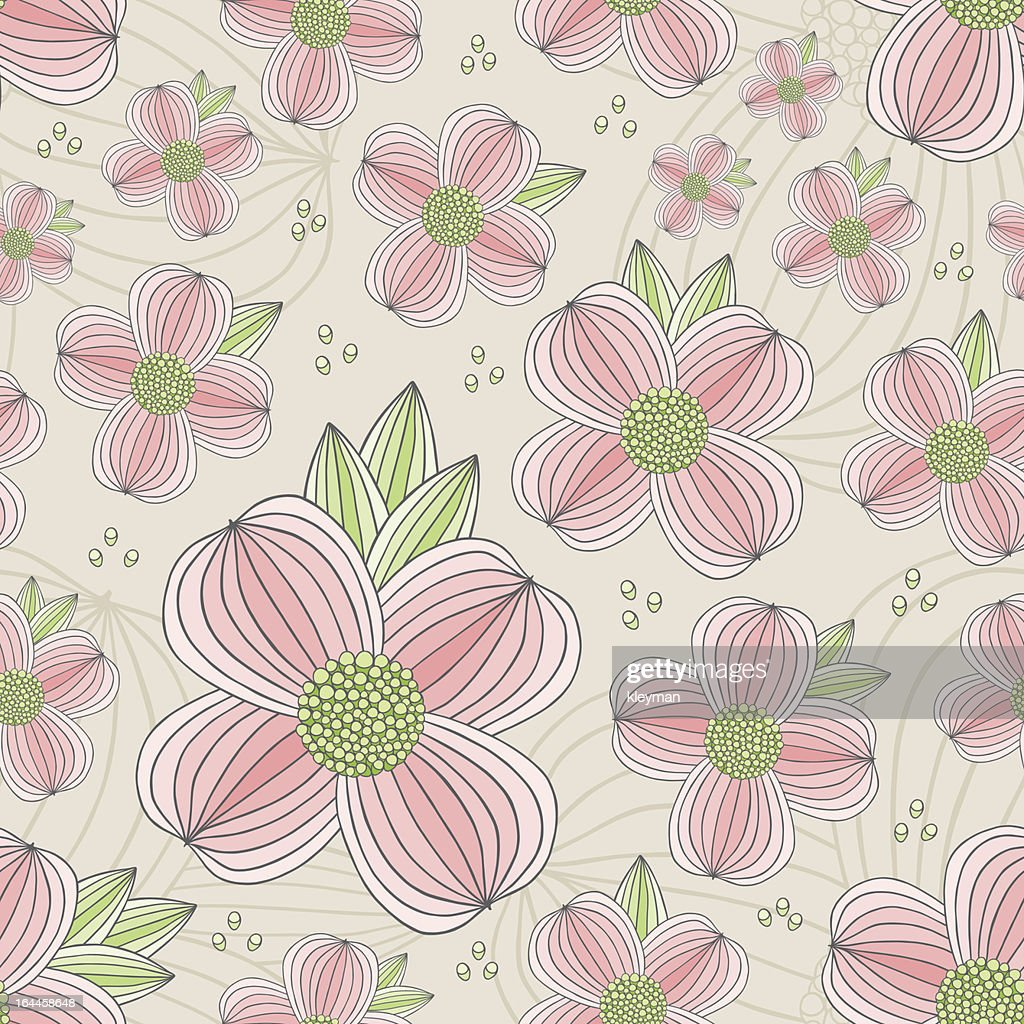 Seamless Dogwood Blossom Pattern