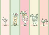 Seamless doodle cocktail pattern.