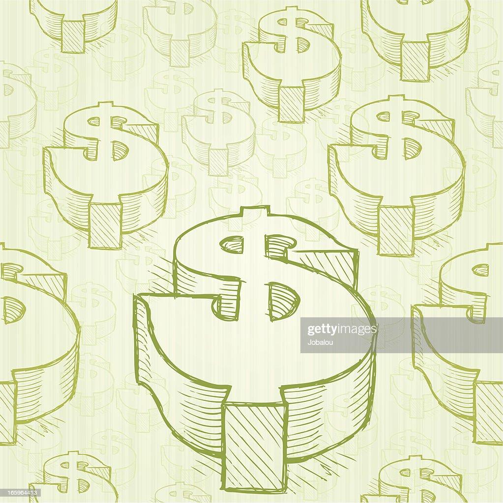 Seamless Doodle Dollar