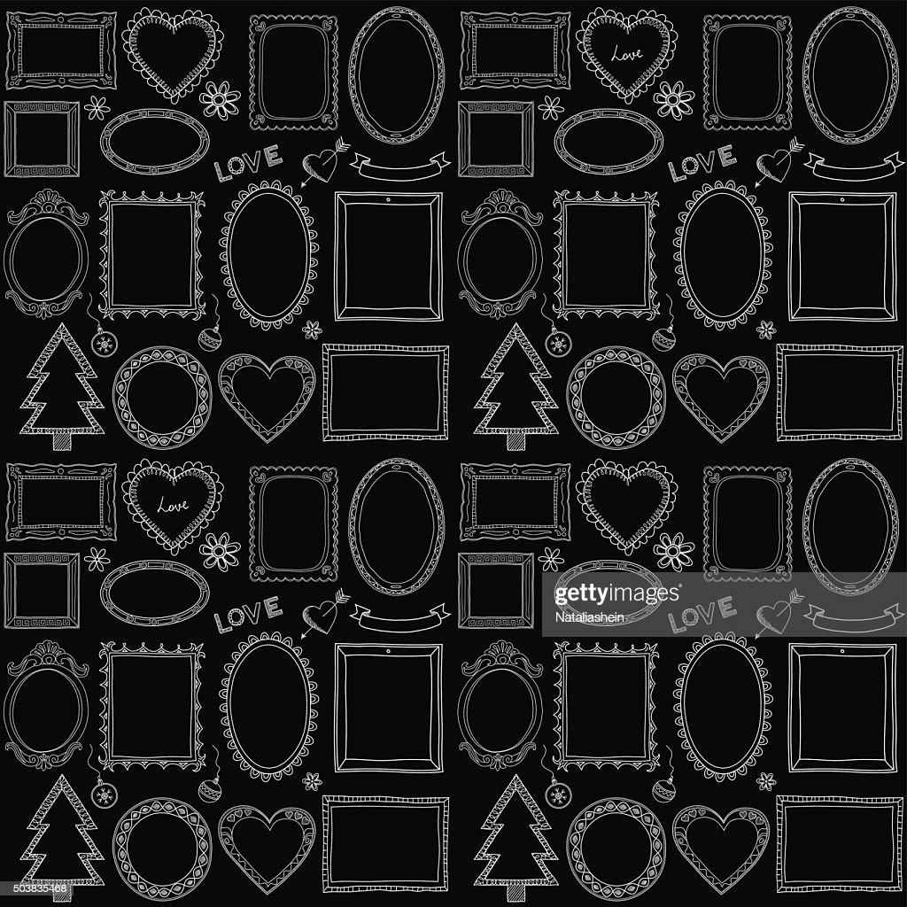 Seamless doodle frame set