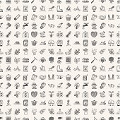 Seamless doodle of gardening patterned icons